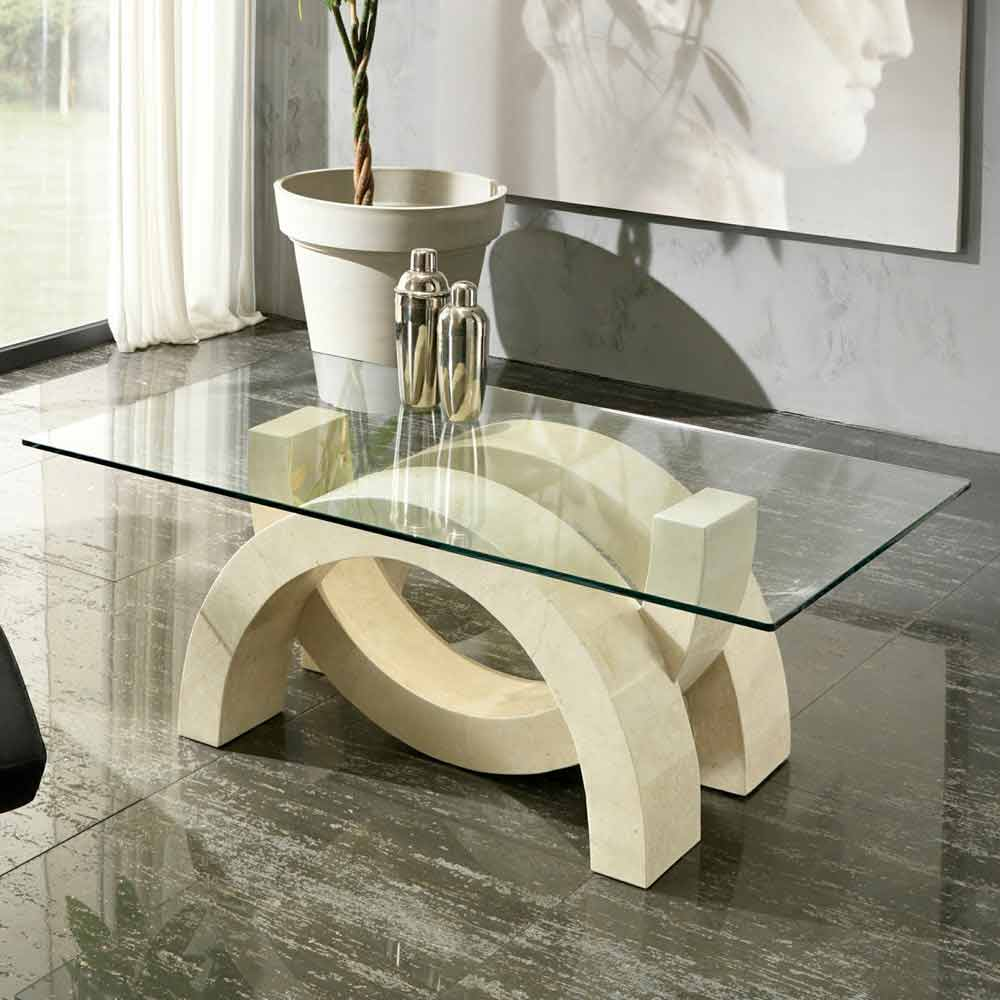 Stone And Glass Coffee Tables: Glass And Fossil Stone Coffee Table Austin