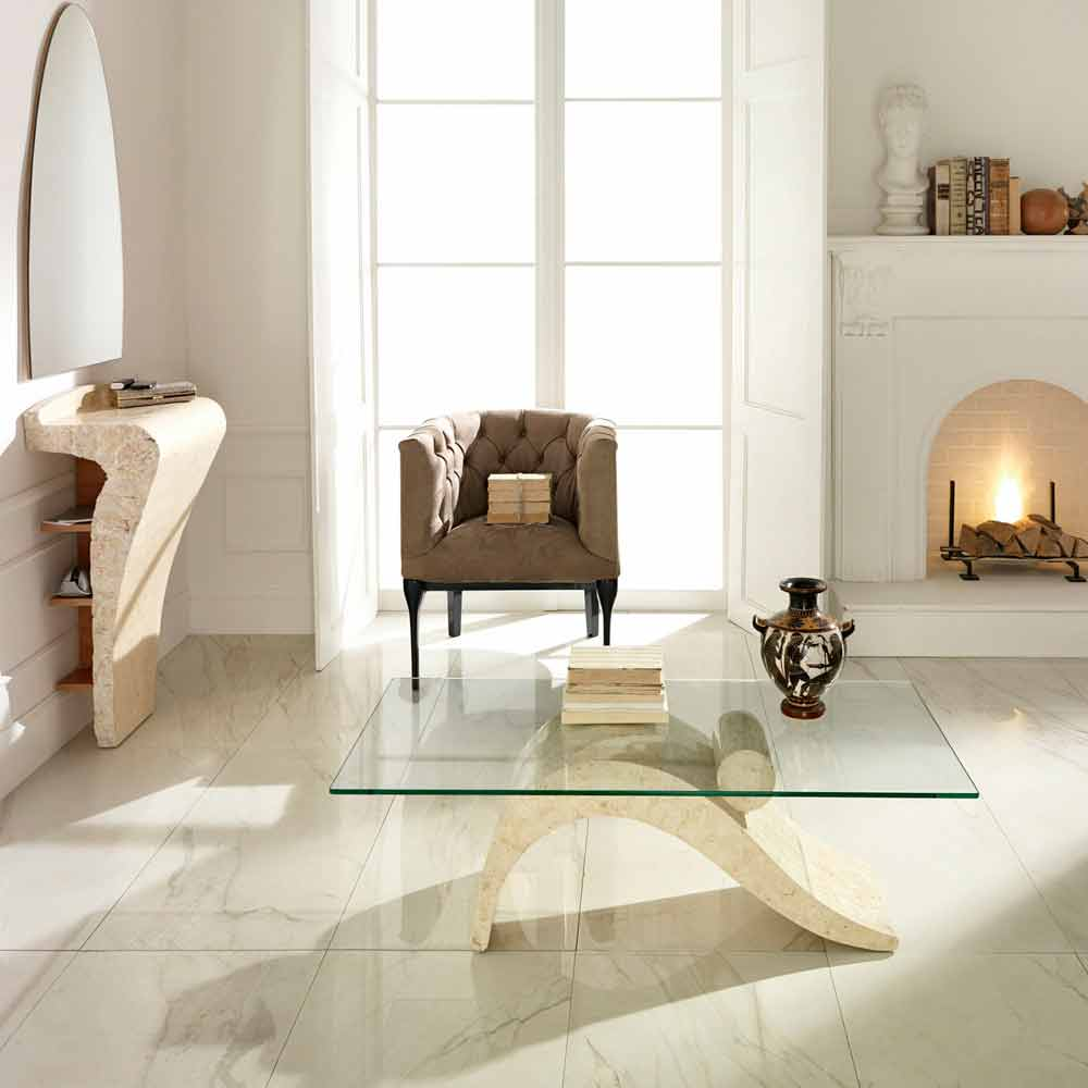 Modern coffee table made of glass and fossil stone Ohio