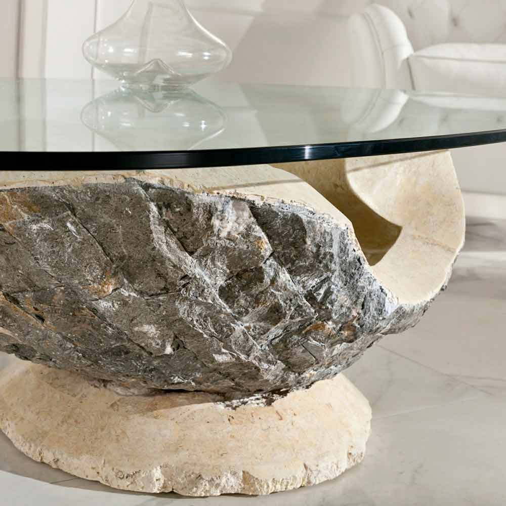 Glass Top Coffee Table Ombra With Fossil Stone Frame