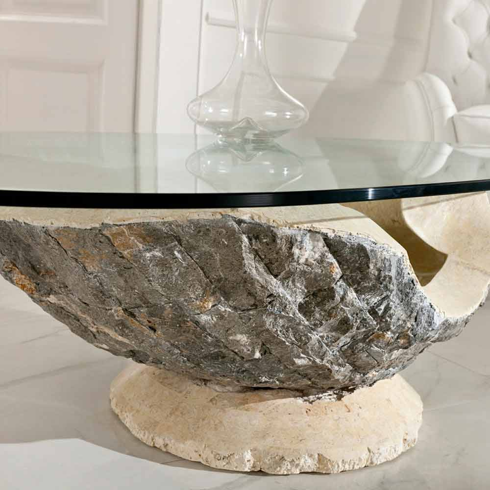 Stone Frame Coffee Table: Glass Top Coffee Table Ombra, With Fossil Stone Frame