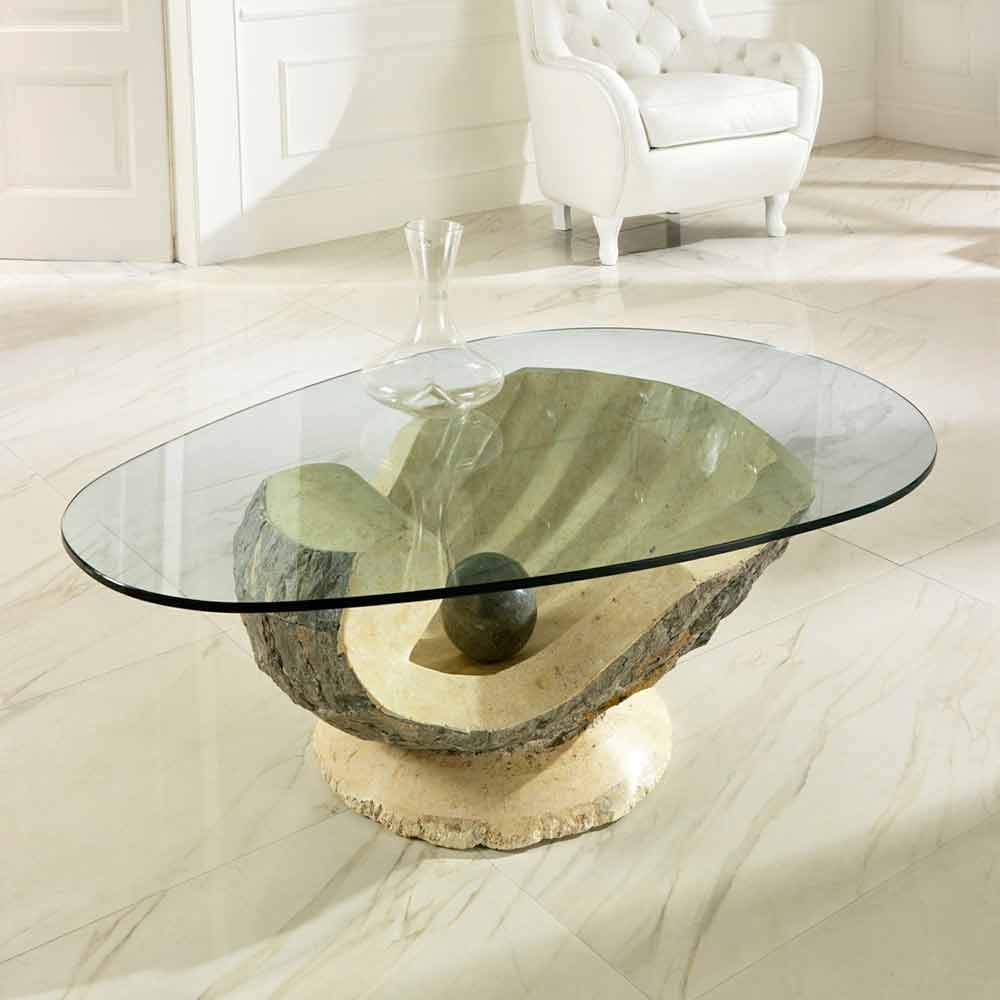 Marble Glass Top Coffee Table: Glass Top Coffee Table Ombra, With Fossil Stone Frame