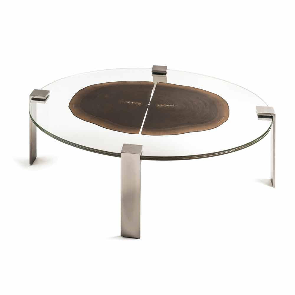 Oval Coffee Table Buck 1 With Top Made Of Glass Wood Modern Design