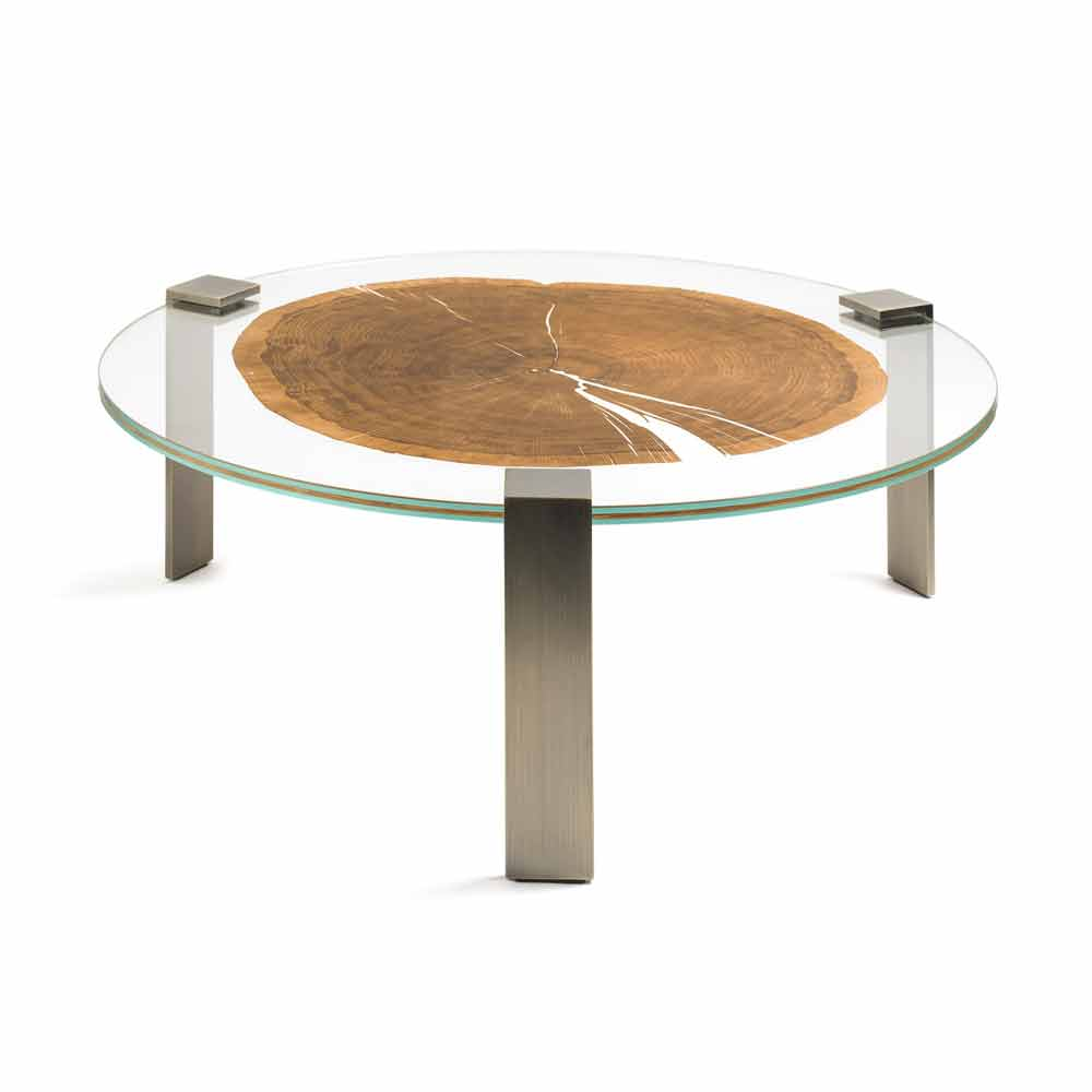 Round Coffee Table Buck, With Glass And Wood Top,made In Italy