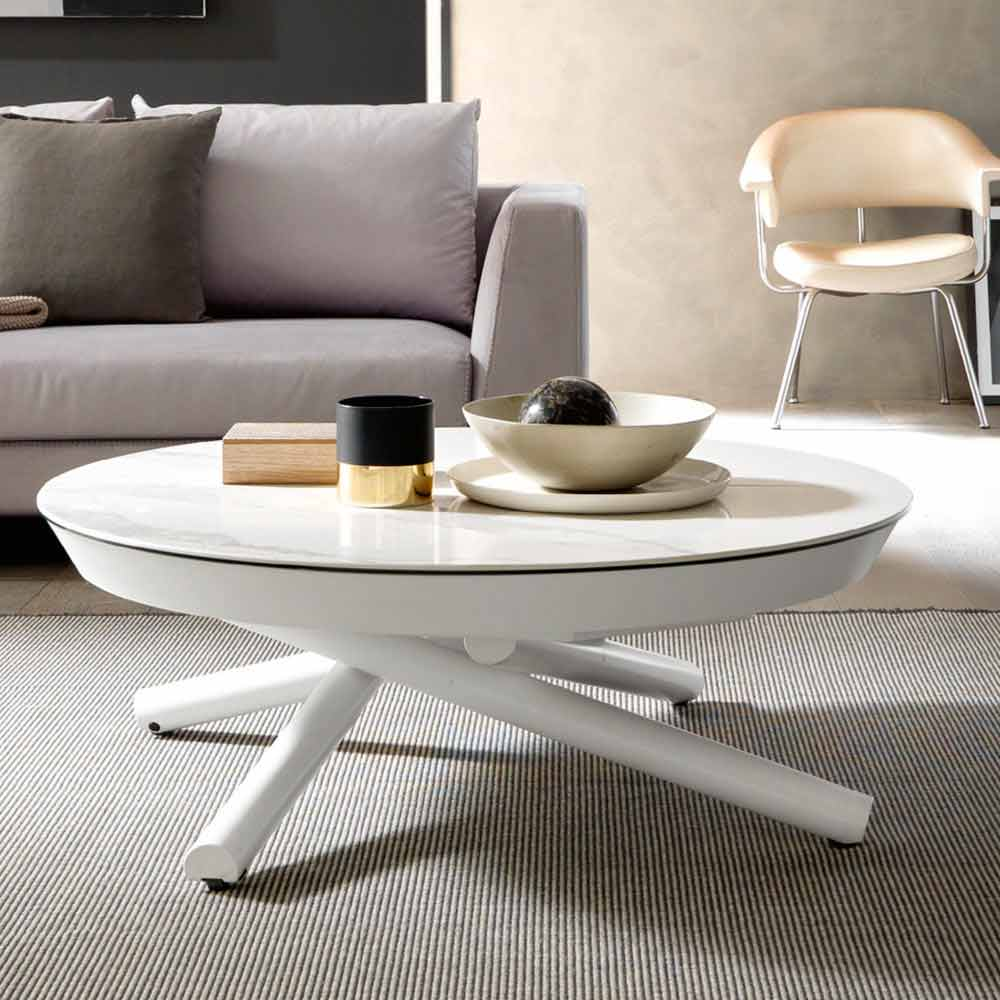 Transforming Coffee Table In Ceramic And Metal Made In Italy