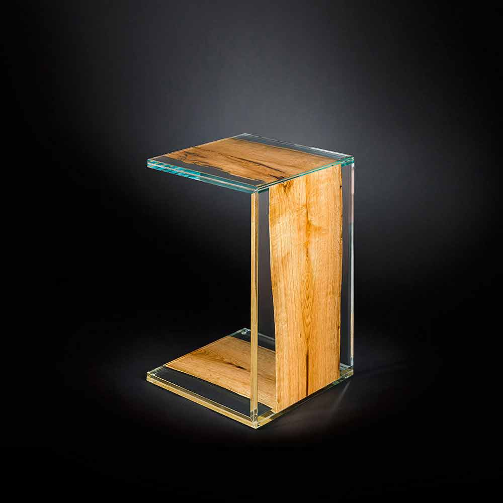 Glass Wooden Side Tables: One Leg Side Table Venezia, Glass And Wood