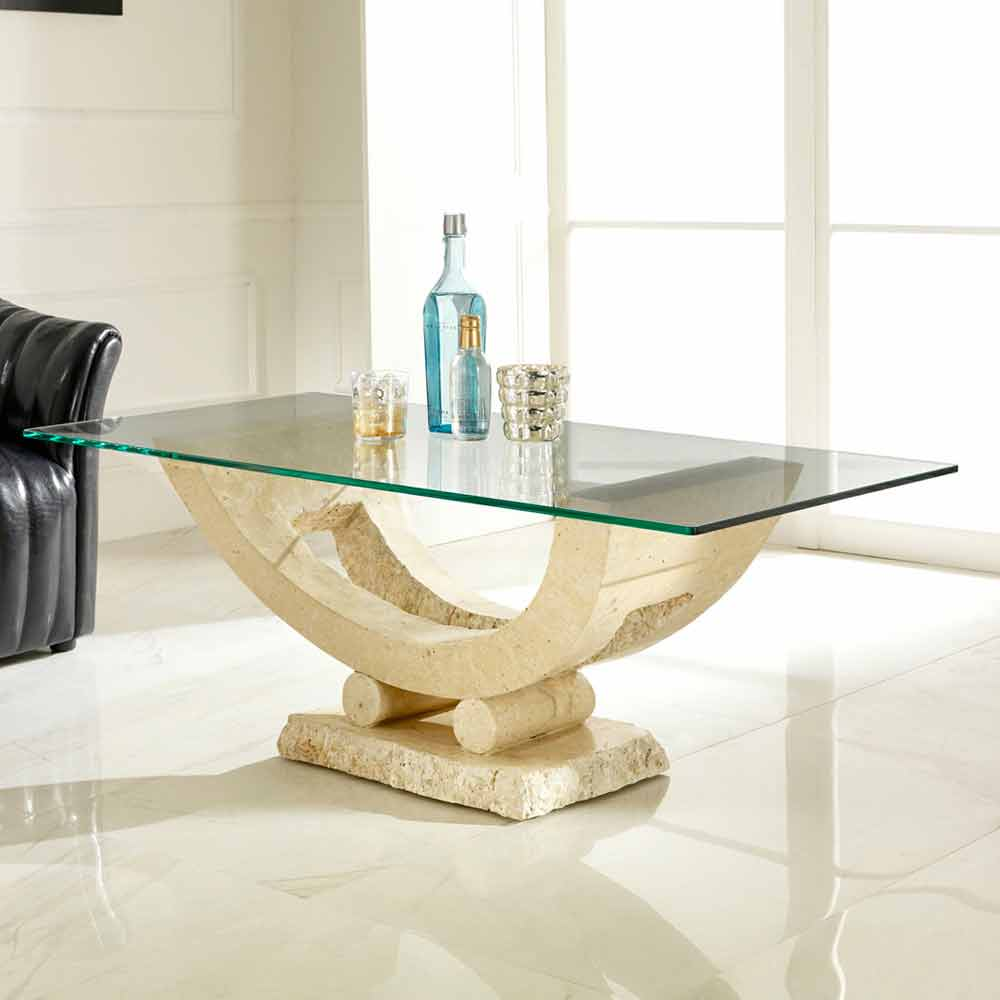Marble Glass Top Coffee Table: Fossil Stone Coffee Table With Glass Top Meg