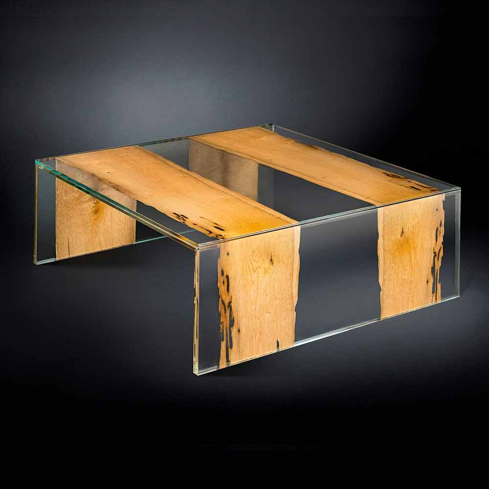 Glass And Wood Square Coffee Table Venezia