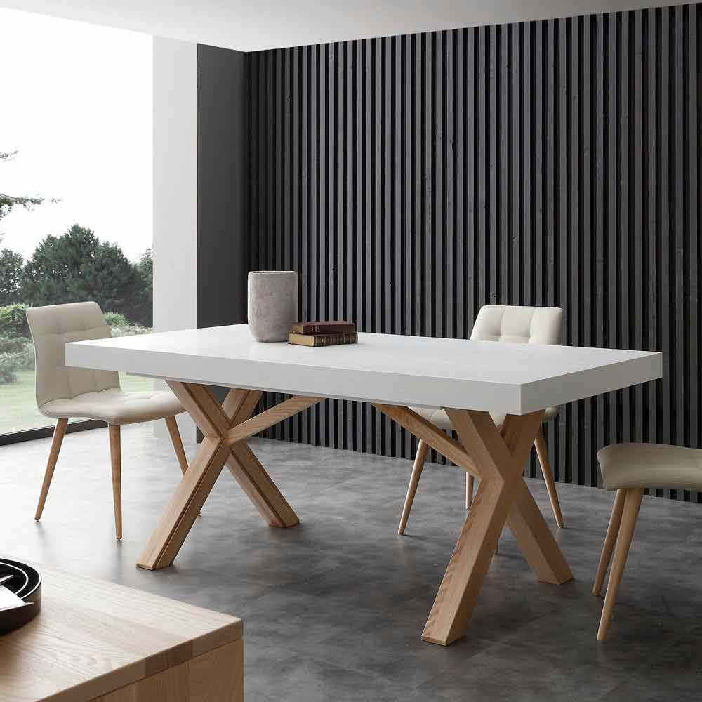 Table Salle A Manger Bois Avec Rallonge: White Extendable Dining Table Rico, With Solid Wood Frame