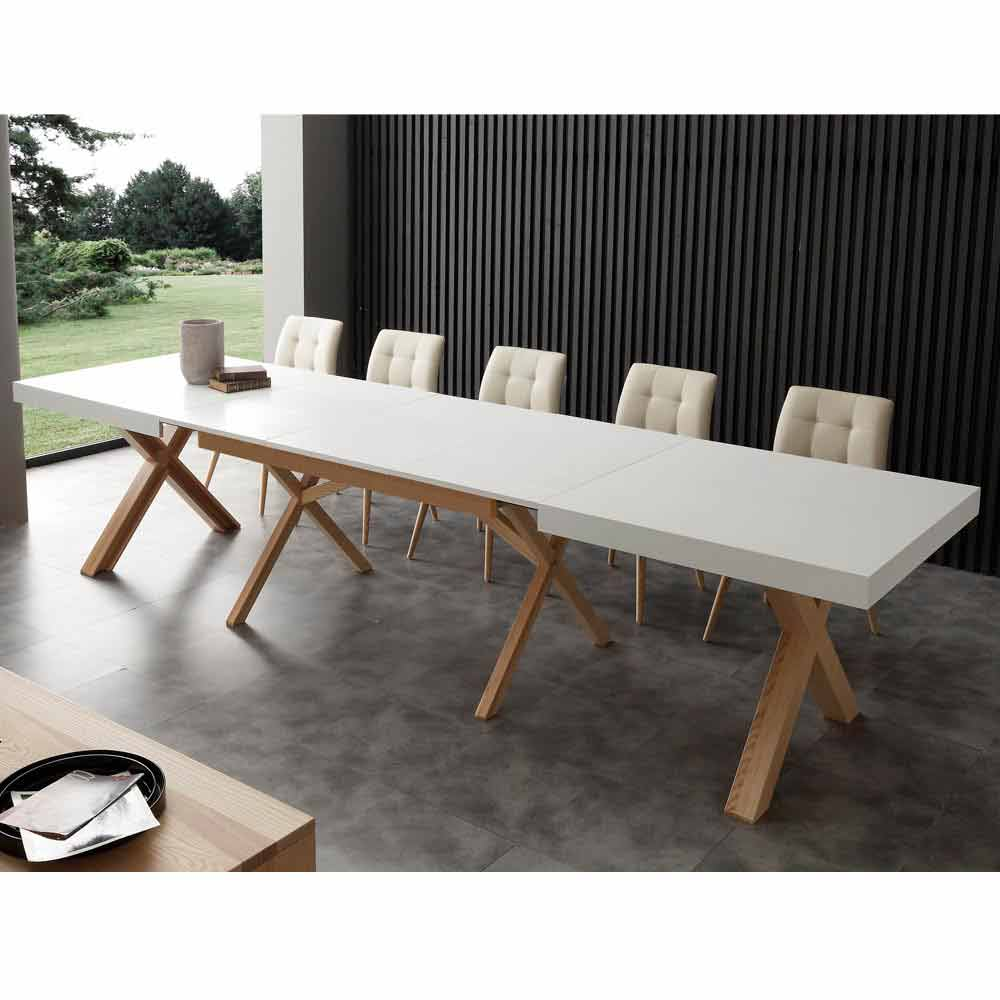 White extendable dining table rico with solid wood frame for Table salle a manger bois