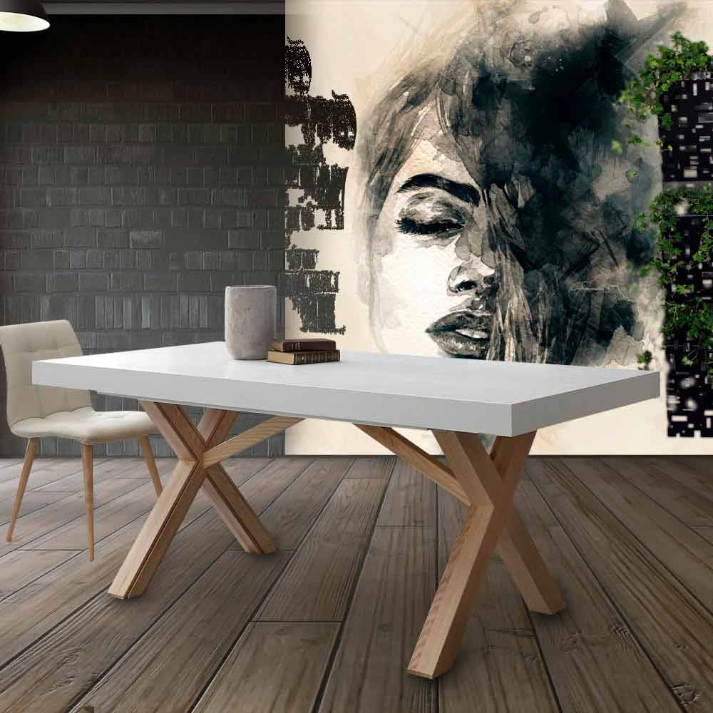 White Extendable Dining Table Rico With Solid Wood Frame