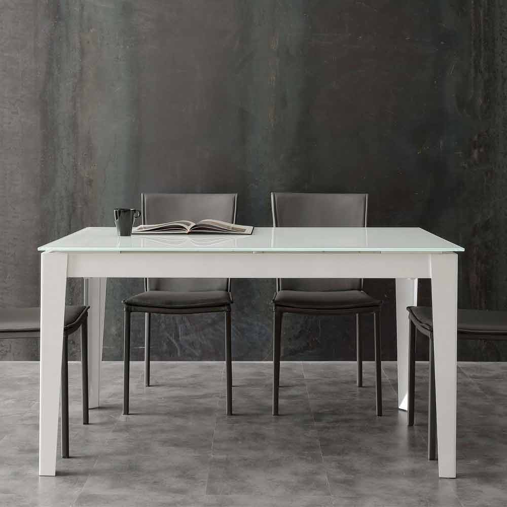 Extendable Table With Modern Baltimore Tempered Glass Top
