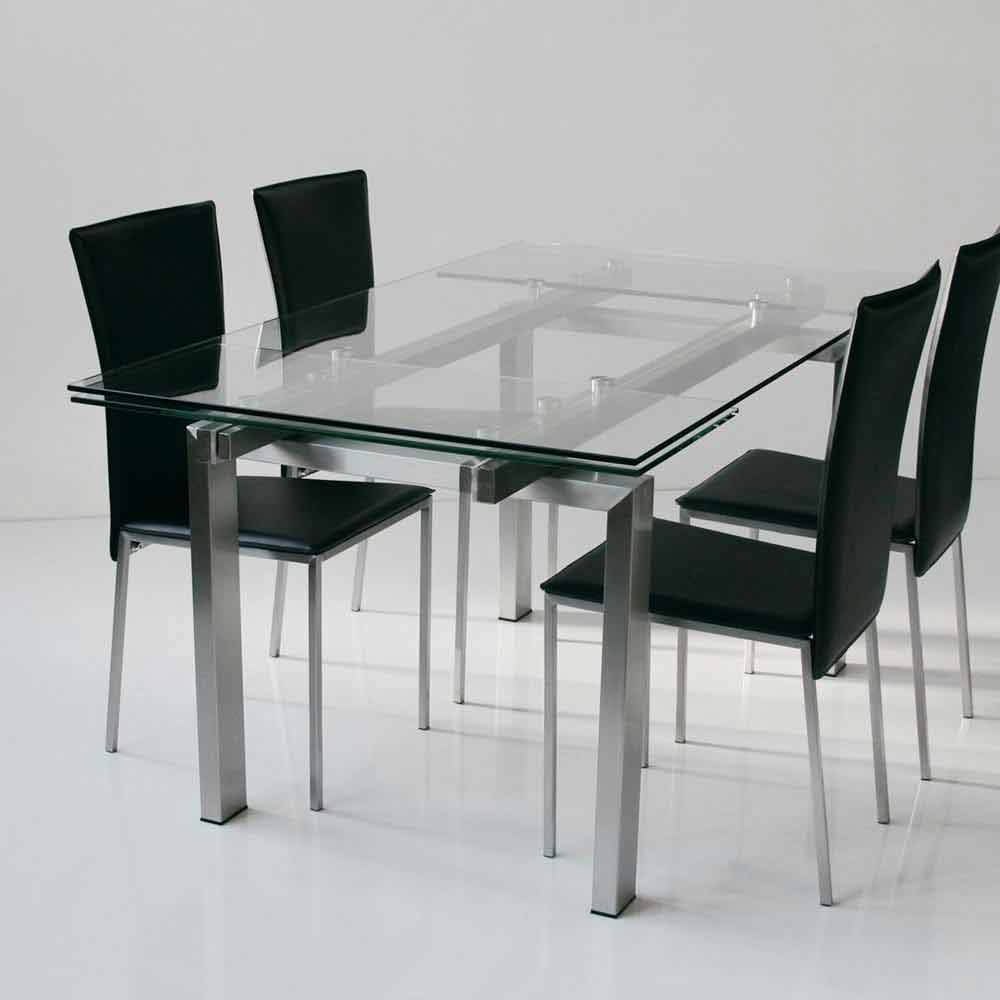 Tavolo Vetro Satinato Allungabile.Modern Design Extendable Table Lily With Tempered Glass Top