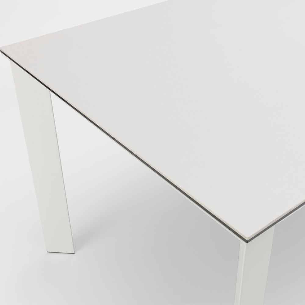 Tavolo 90 X 90 Allungabile Bianco.Dining Table Extensible Up To 220 Cm With White Ceramic Plan Nosate