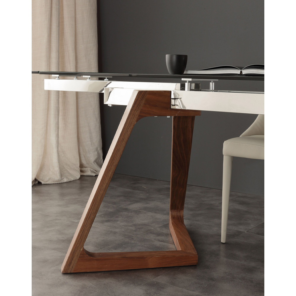 modern extendable dining table with tempered glass top iside. Black Bedroom Furniture Sets. Home Design Ideas