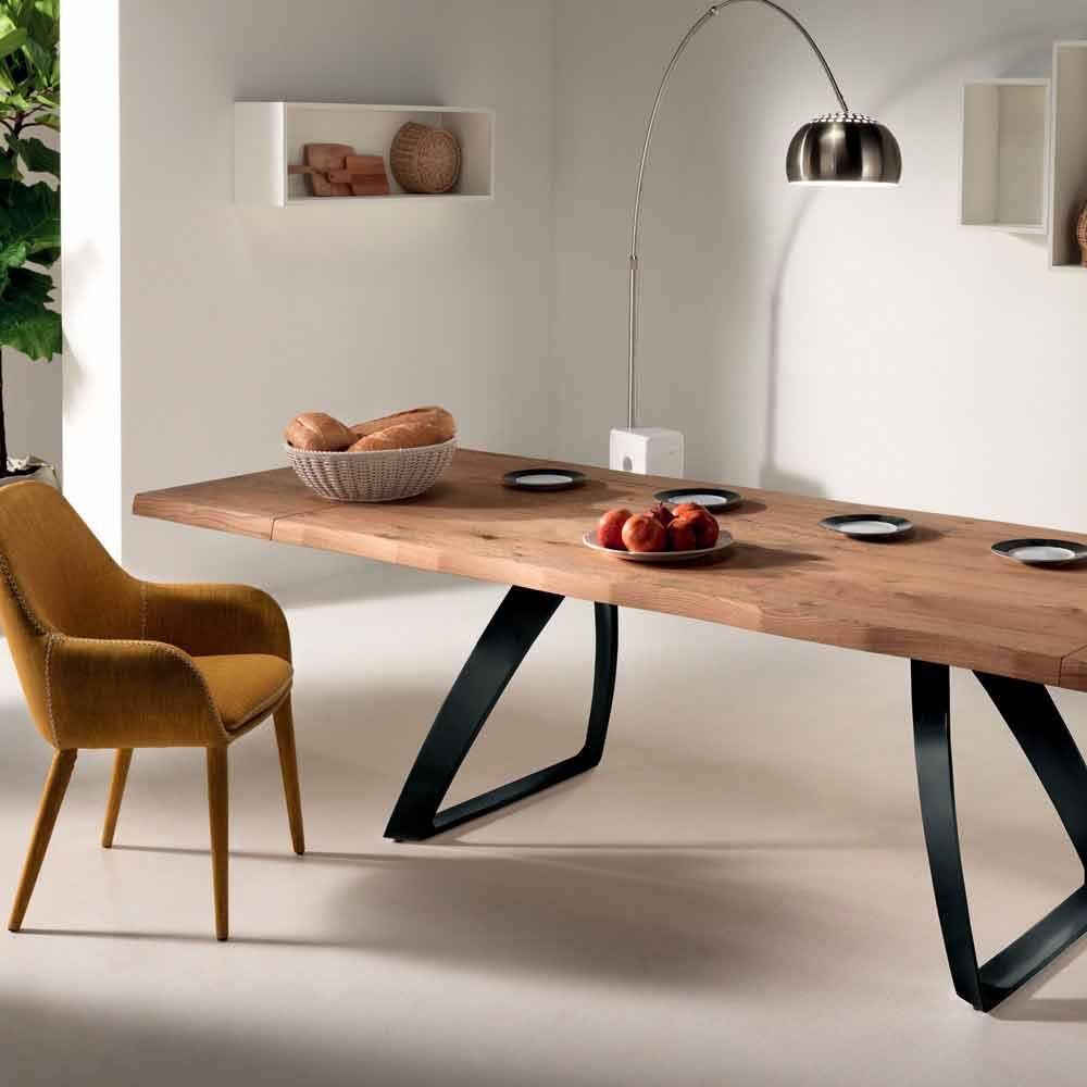Table A Manger Bois Et Metal.Extending Table Travis Oak Veener And Black Metal Modern Design