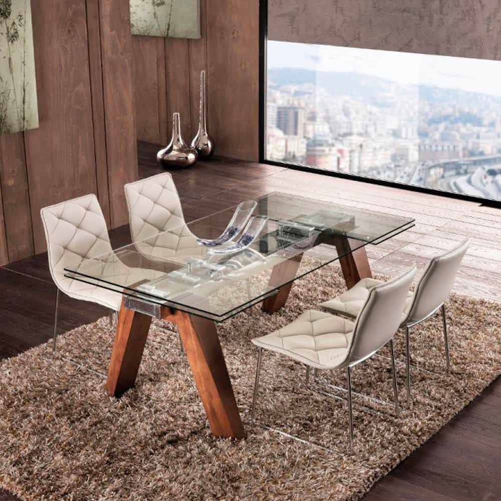 Tavolo Cristallo In Vetro.Extendable Solid Wood And Tempered Glass Dining Table Chad
