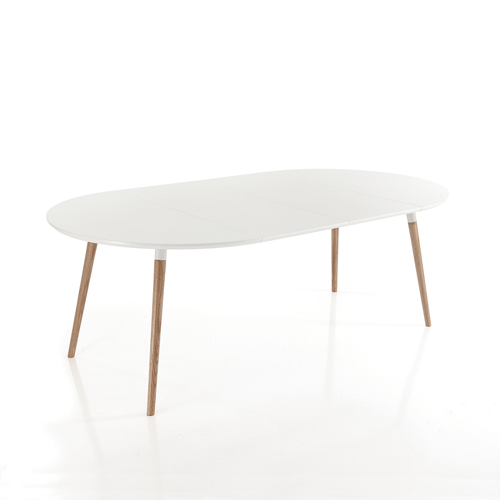 Extendable wooden dining table with white top ian for Table bois clair