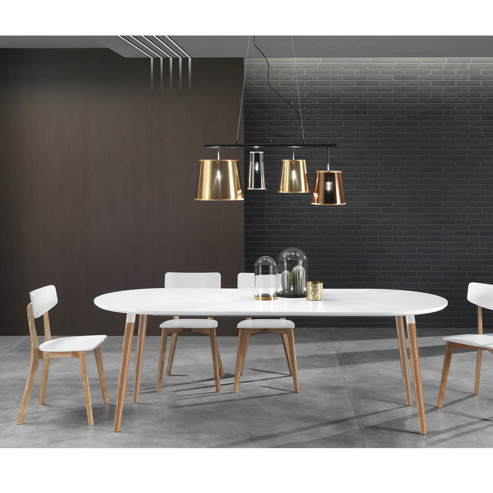 Extendable wooden dining table with white top ian for White dining table