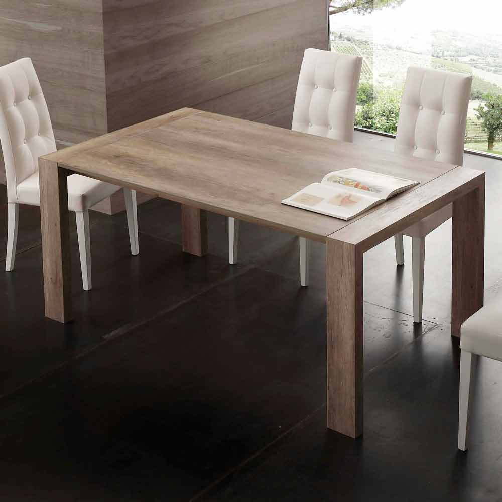 Extendable dining table jesi made of mdf for Table extensible 80