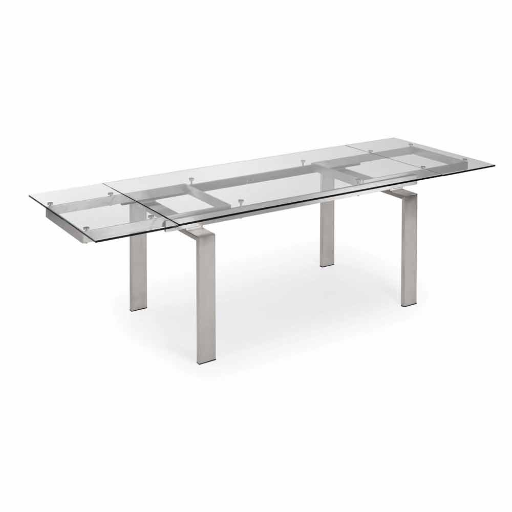 Extendable steel and glass dining table judo modern design for Table moderne a rallonge