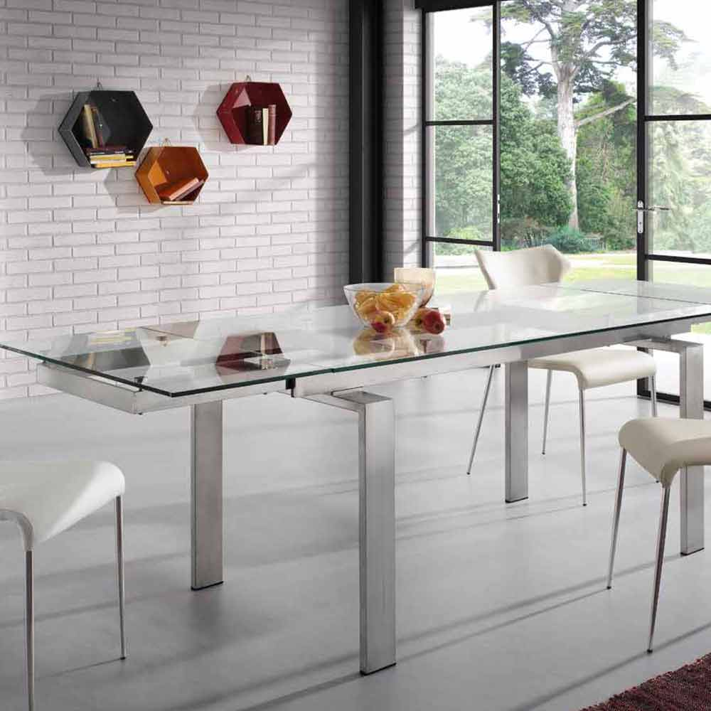 Extendable steel and glass dining table judo modern design for Table 160 cm avec rallonge