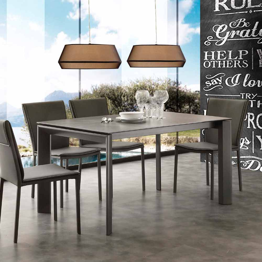 Contemporary Extending Table With Ceramic Glass Top Philadelphia