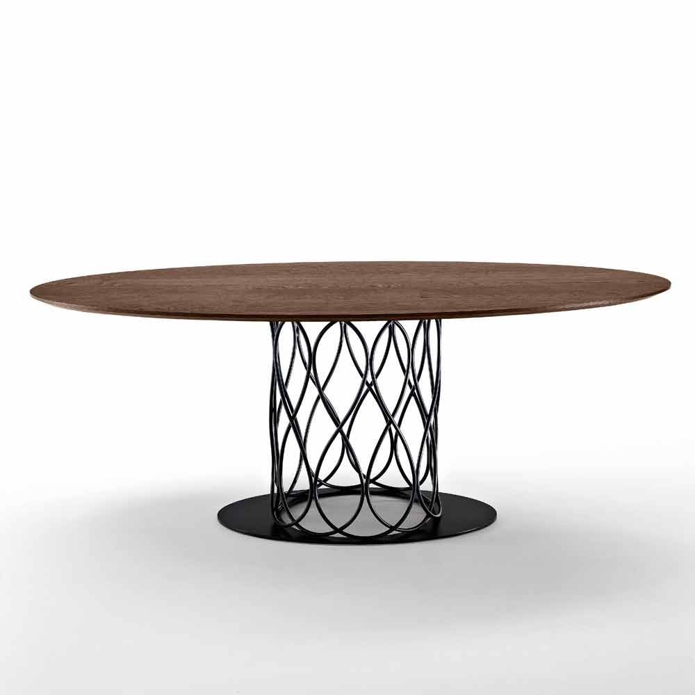 Modern design dining table made of thermo treated oak mdf 108x200 nora - Modern design dining table ...