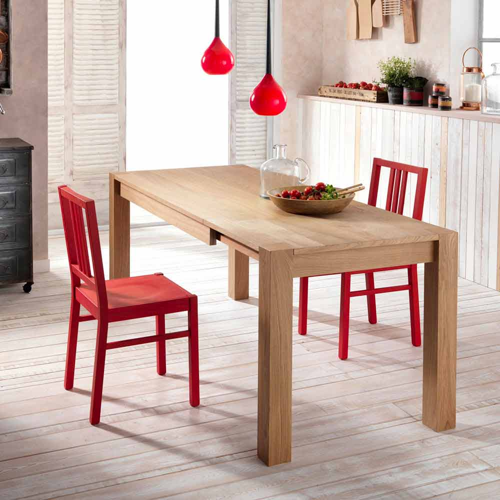Oak extending dining table Fedro, made in Italy