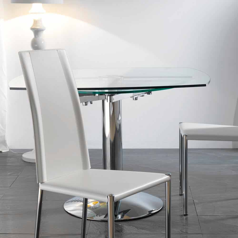 Transparent tempered glass extendable dining table onda for Tempered glass dining table