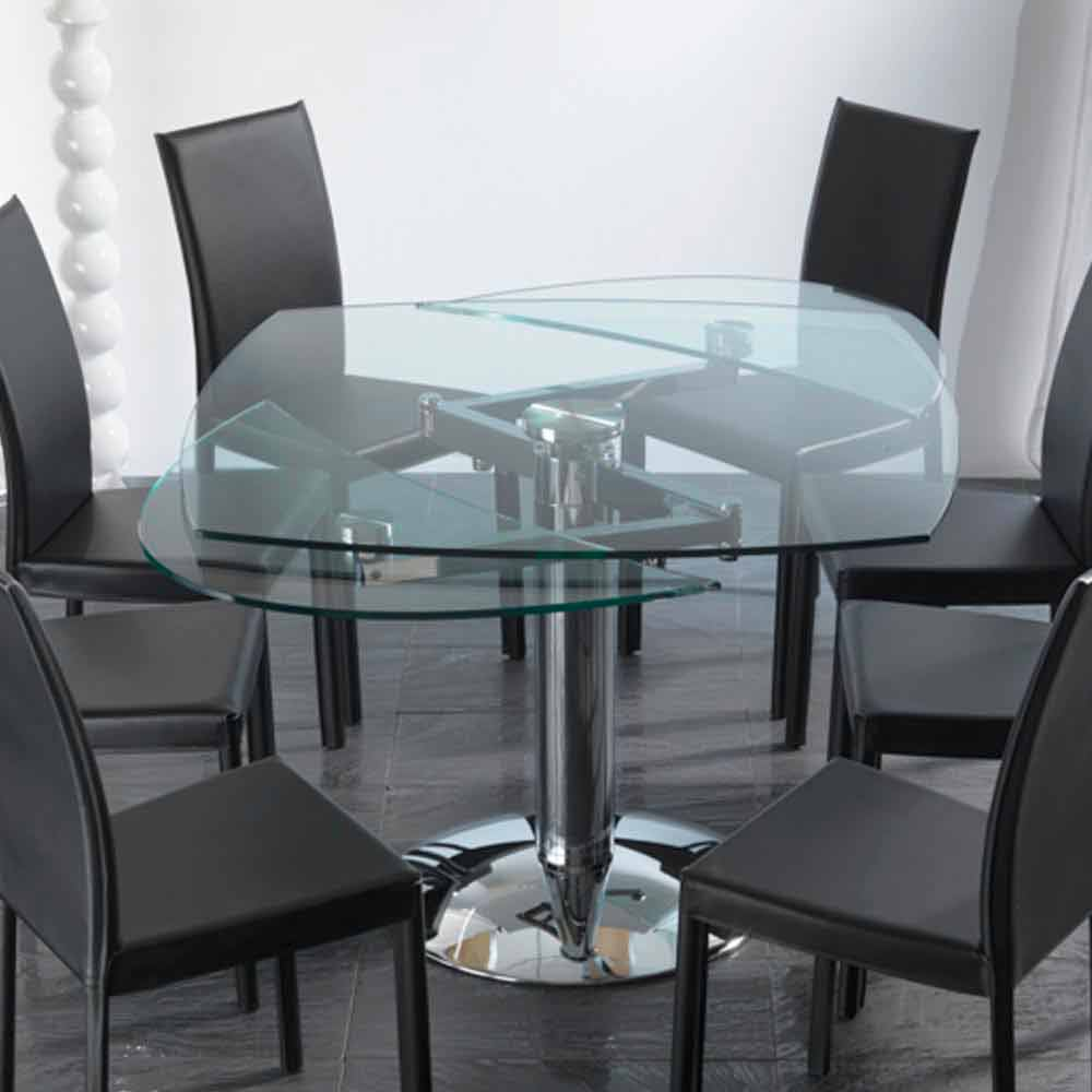 transparent tempered glass extendable dining table onda. Black Bedroom Furniture Sets. Home Design Ideas