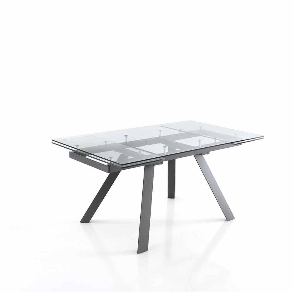 Tavolo Vetro Trasparente Allungabile.Extendable Table In Transparent Glass And Metal Basilea