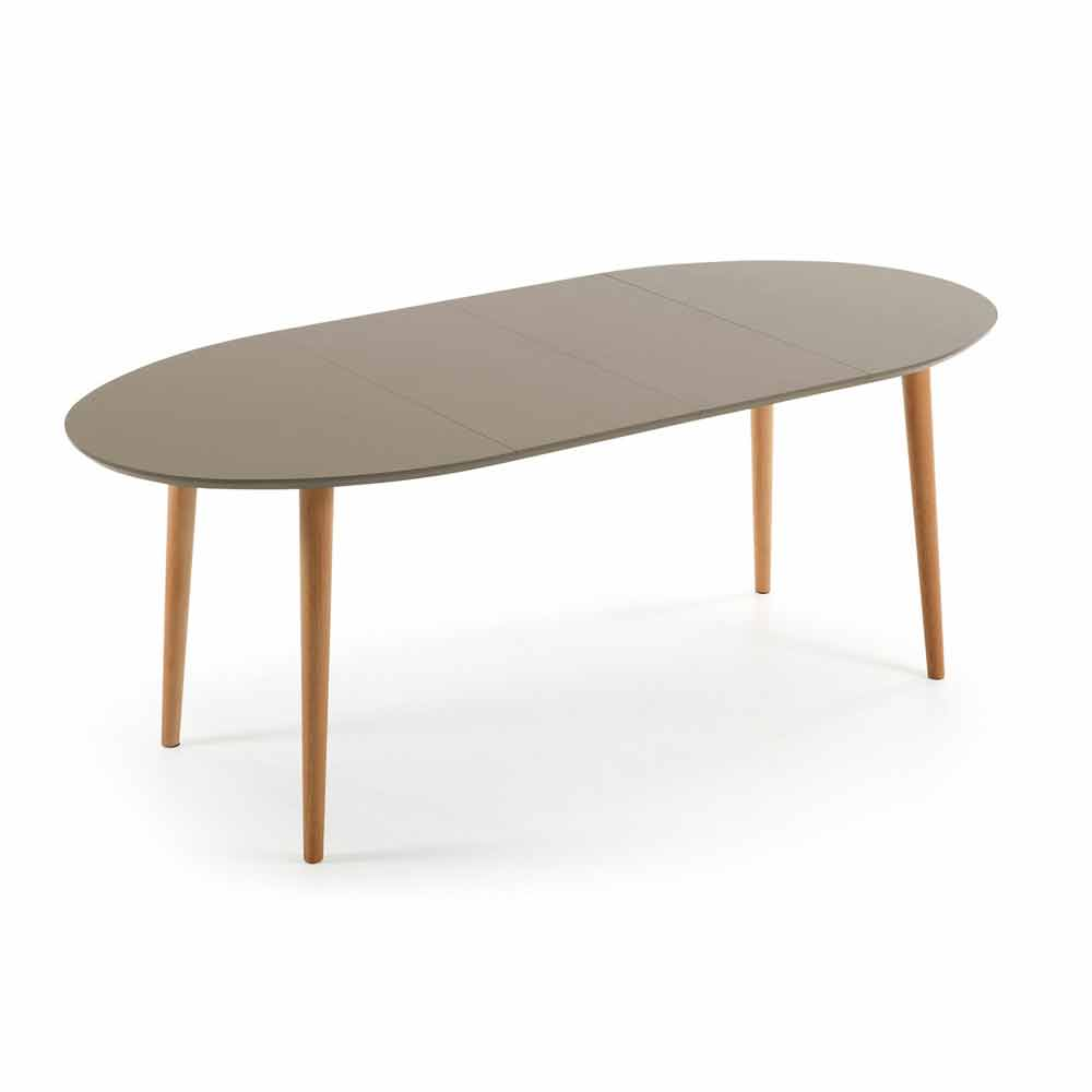 Extendable wooden table oval shape ian for Table blanche salle a manger