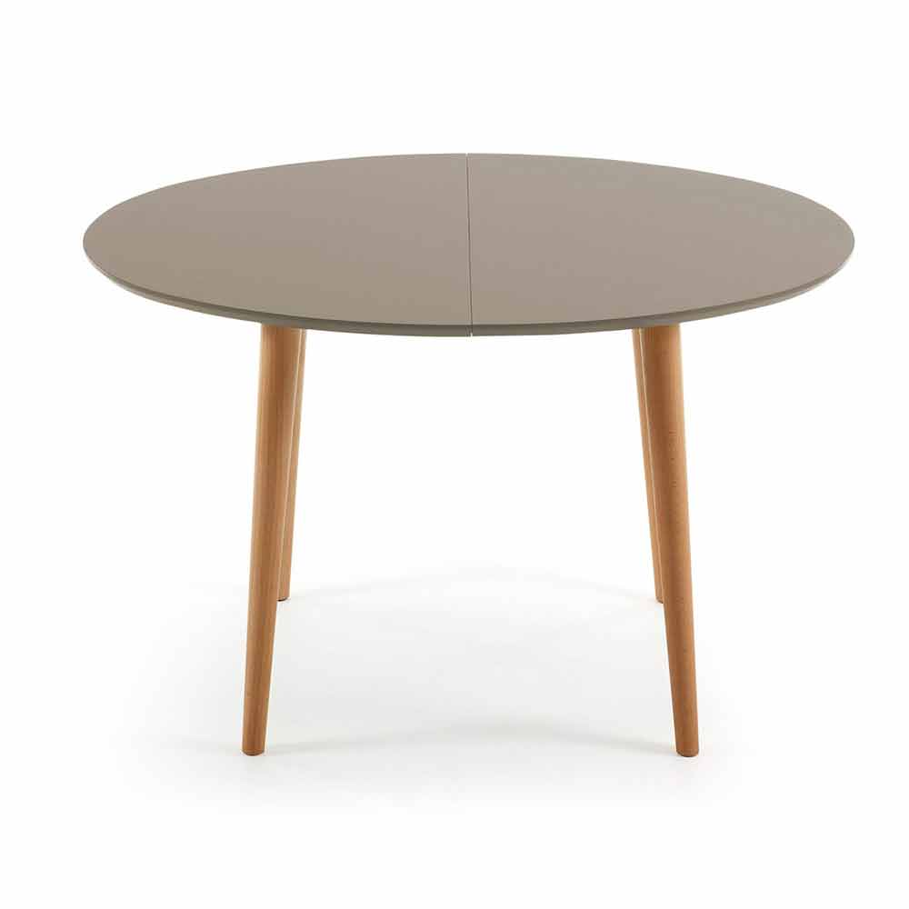 Extendable wooden table oval shape ian for Table ovale extensible
