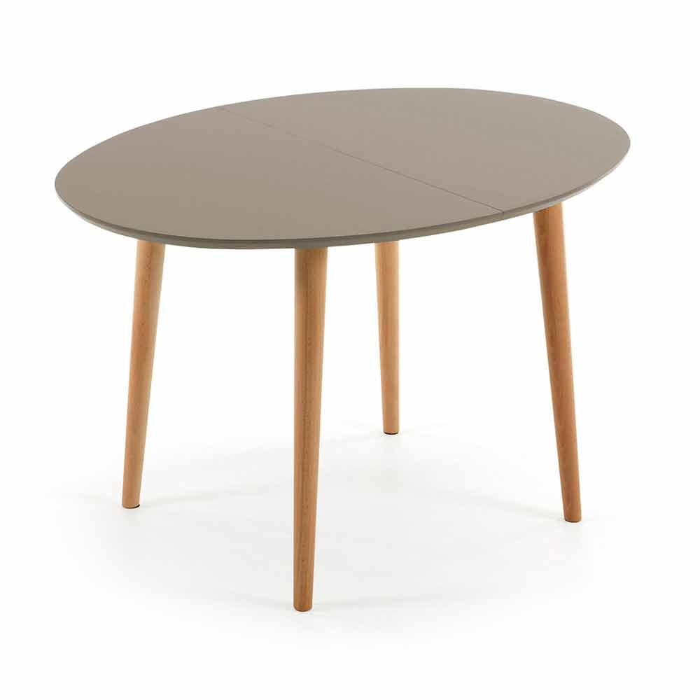 Extendable wooden table oval shape ian for Tables rondes salle manger avec allonges