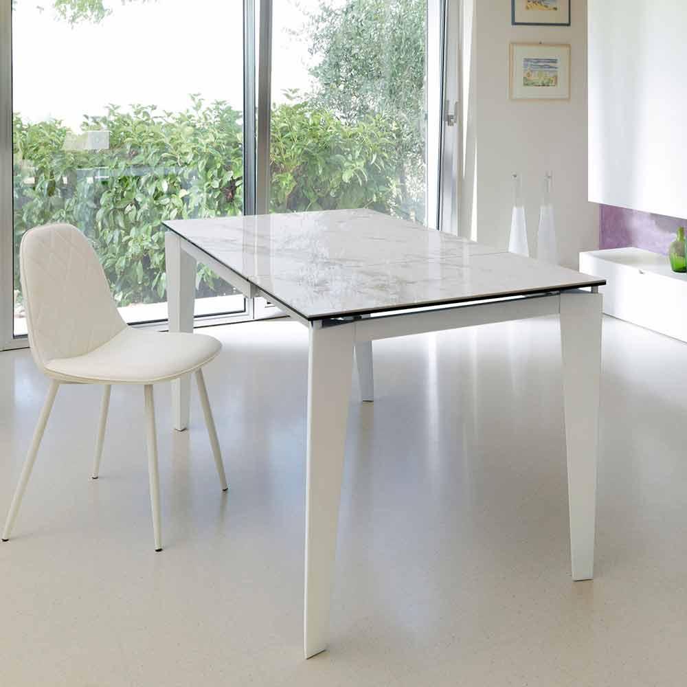 Tavolo Da Pranzo Allungabile Vetro.Extendable Dining Table 120 170xp80 Made Of Glass Ceramic Bino
