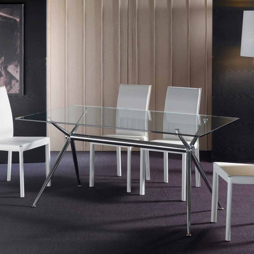 Modern Dining Table Thor With Transparent Tempered Glass Top