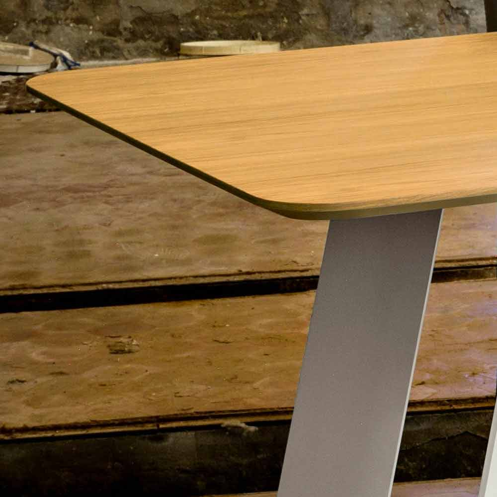 Dining table 100x200 cm made of oak mdf and metal red for Table design 90 cm