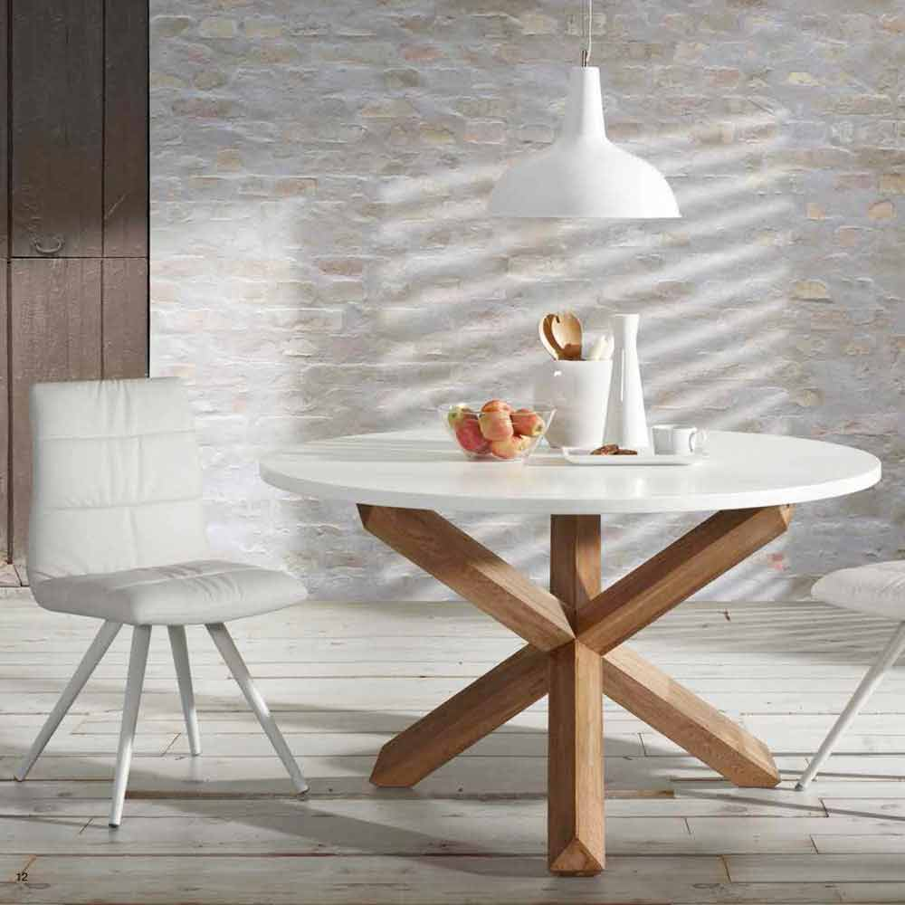 Round Wooden Dining Table Lola White Top
