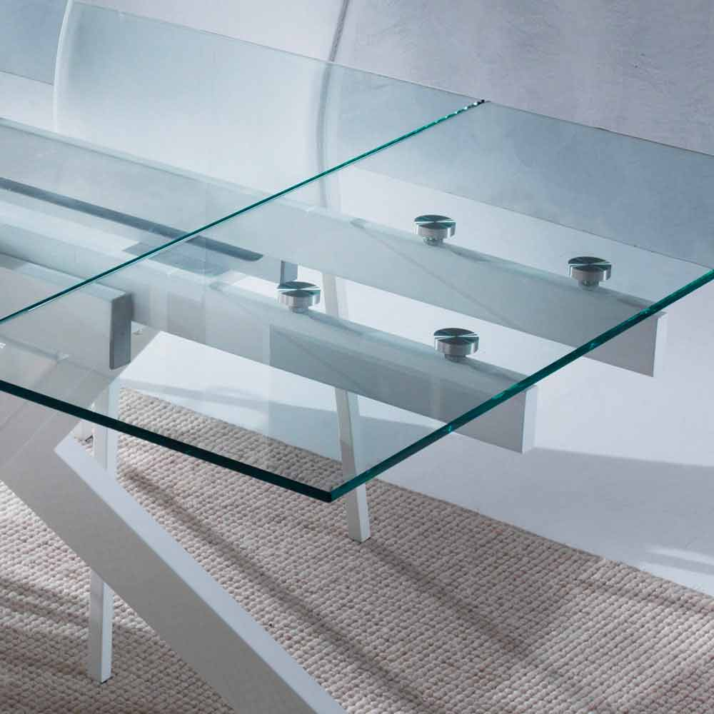 Top Cucina In Vetro Temperato modern extending table mesa, made of metal and tempered glass