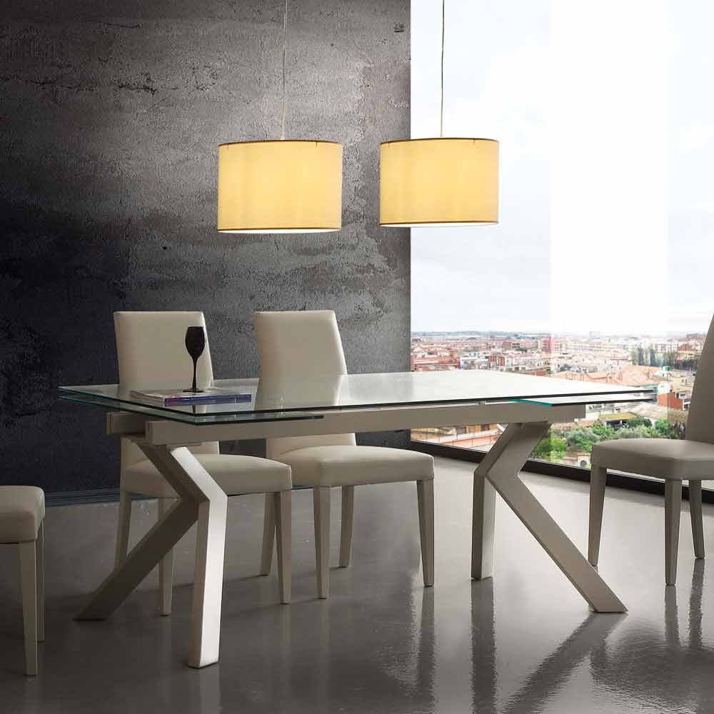 Modern Extending Table Mesa Made Of Metal And Tempered Glass