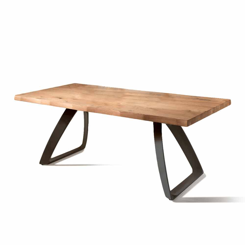 Table Bois Metal Design: Fixed Table Logan, With Oak Veneered Top And Black Metal Frame