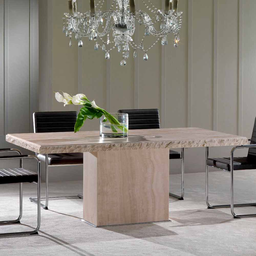 Modern Design Dining Table Made Of Travertine Stone