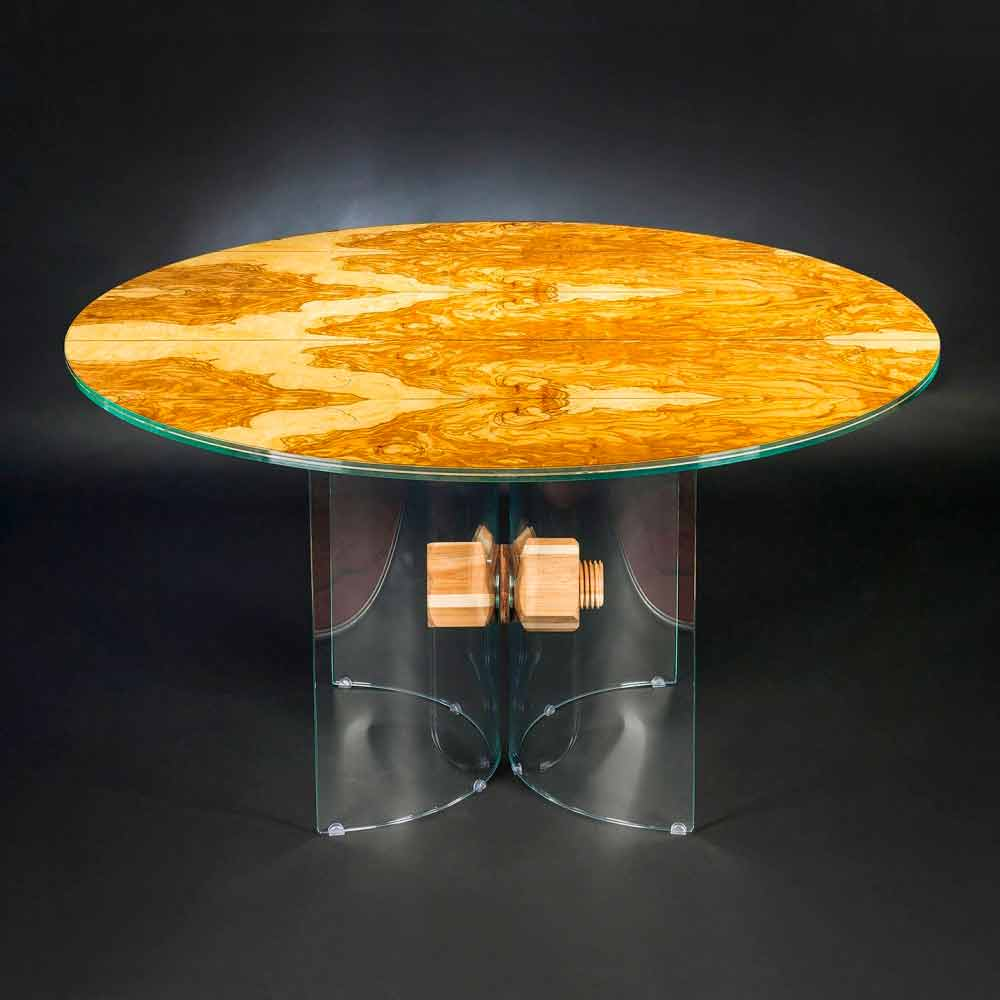 In Olive Wood Table And Portofino VGnewtrend Round Glass