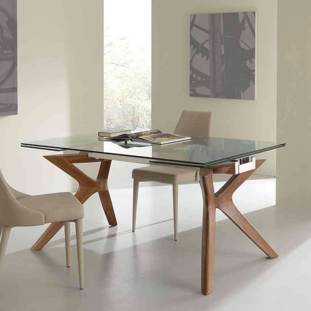 Extending dining table kentucky tempered glass and for Tavolo ovale in vetro allungabile