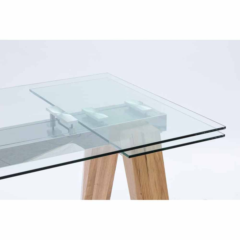 Extendable dining table florida made of glass and solid wood for Extendable glass dining table
