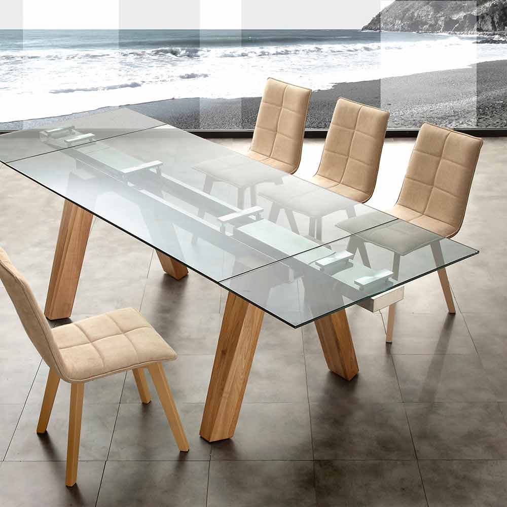 Extendable dining table florida made of glass and solid wood for Tavolo vetro e legno