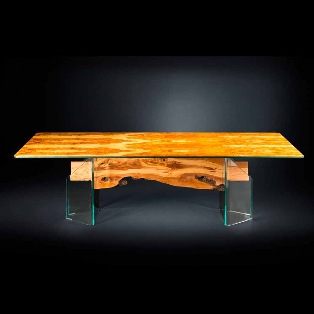 Exceptional Modern Olive Wood Table And Rectangular Glass Portofino