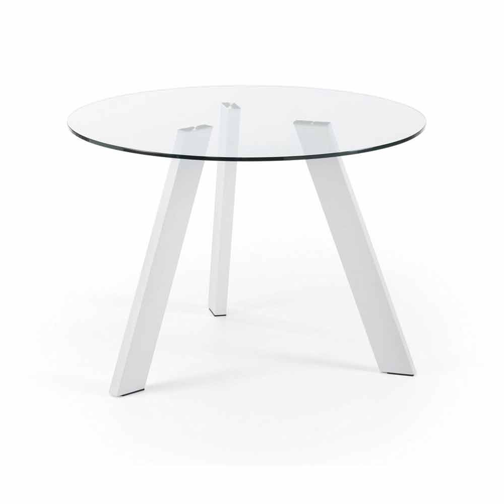 Round glass dining table agata 110 cm pure white legs for 110cm round glass dining table