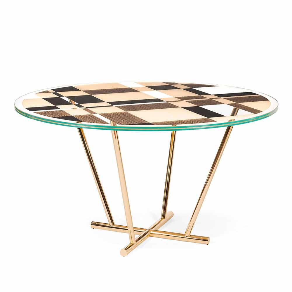 Tavolo Rotondo Vetro Design.Round Coffee Table Ozzy With Glass Top And Intarsia Italian Design