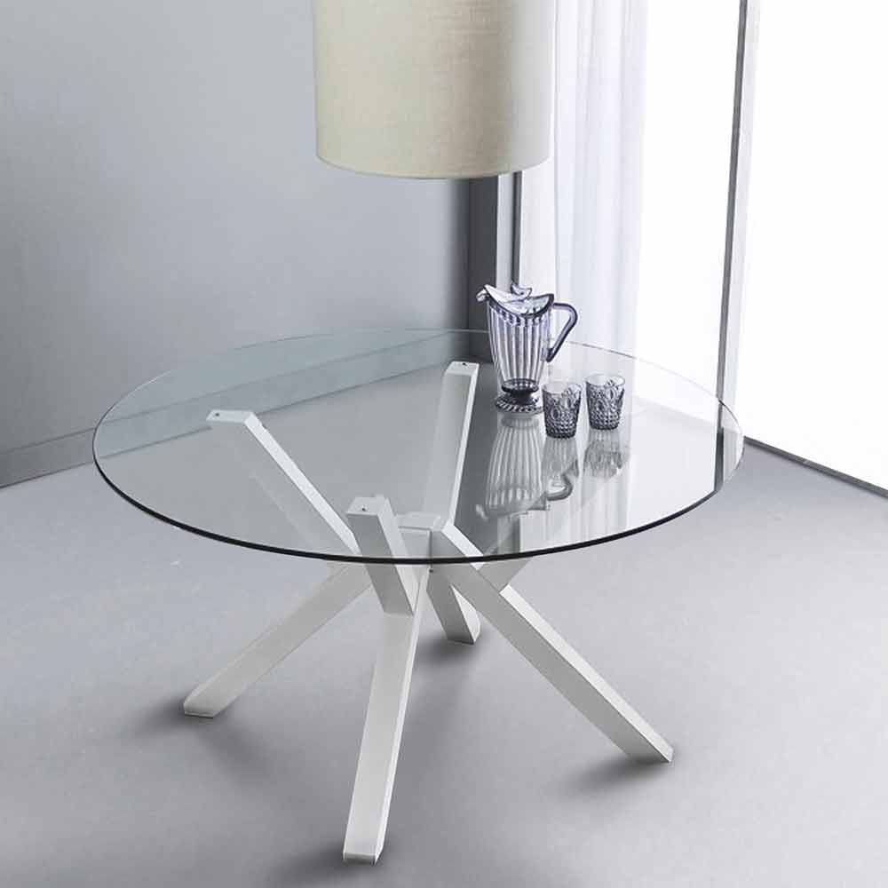 Tavolo Rotondo In Vetro.Round Dining Table Burgos With Glass Table Top And White Legs